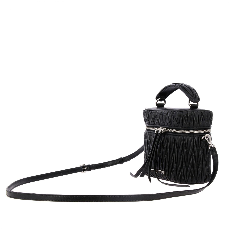 Miu Miu oval Camera bag in matelassé leather black 4