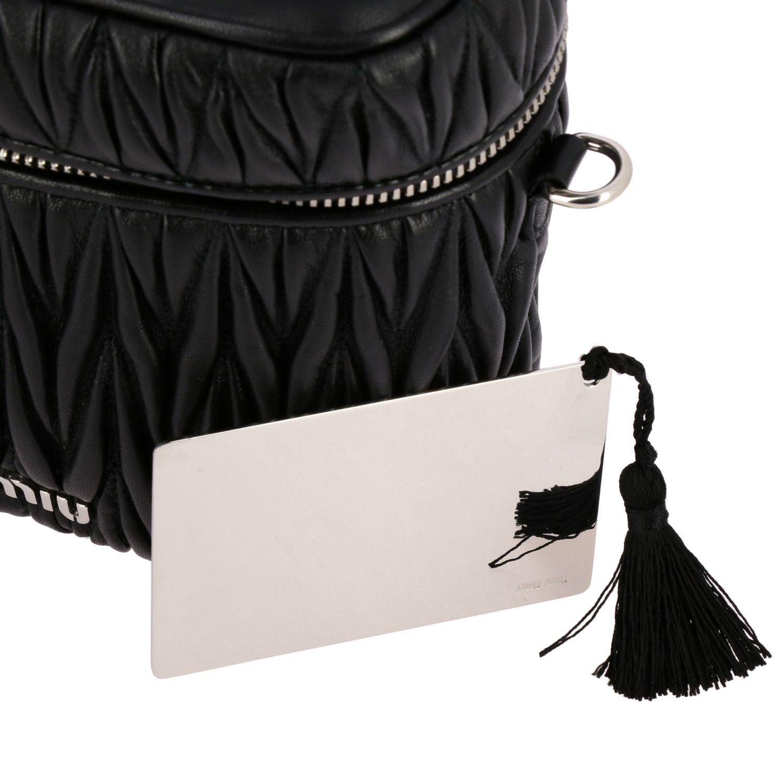 Miu Miu oval Camera bag in matelassé leather black 5