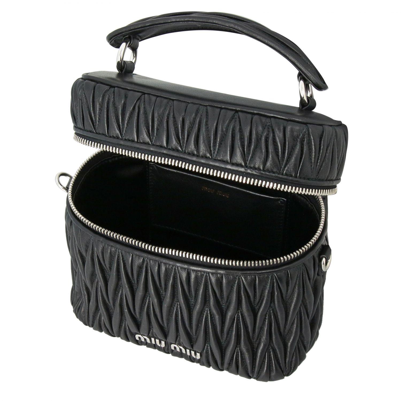 Miu Miu oval Camera bag in matelassé leather black 6