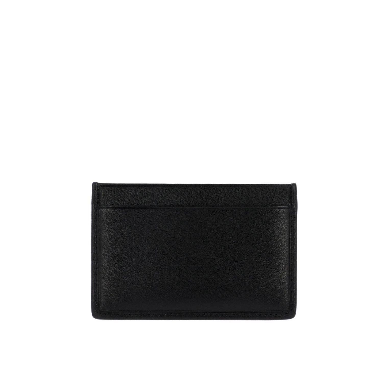 Porta carte di credito in vera pelle soft matelassé con logo Miu Miu nero 2