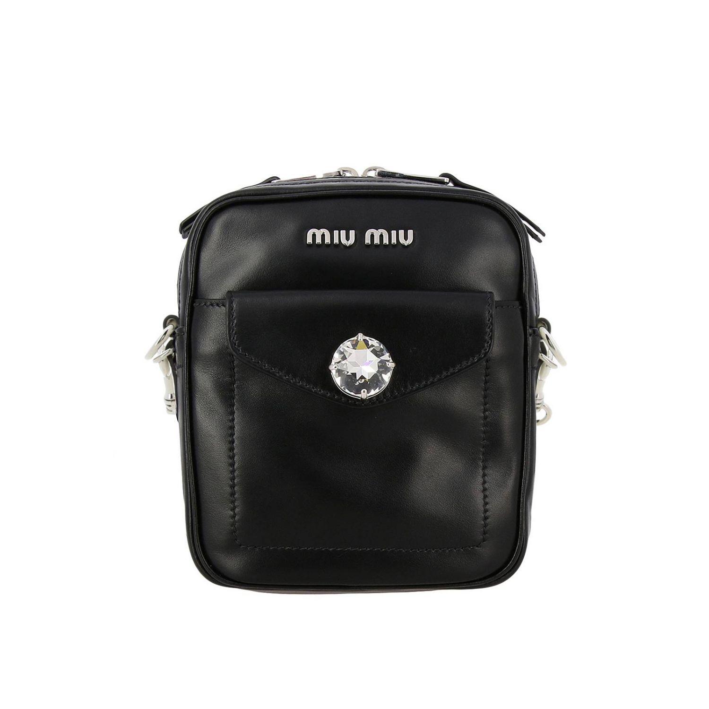 Miu Miu bag in leather with maxi rhinestones black 1