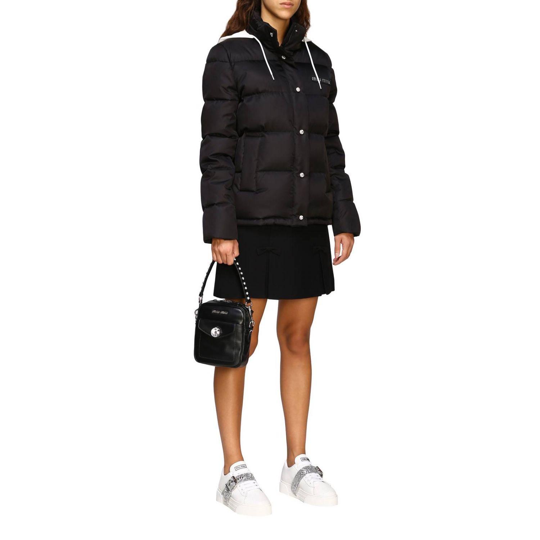 Miu Miu bag in leather with maxi rhinestones black 2