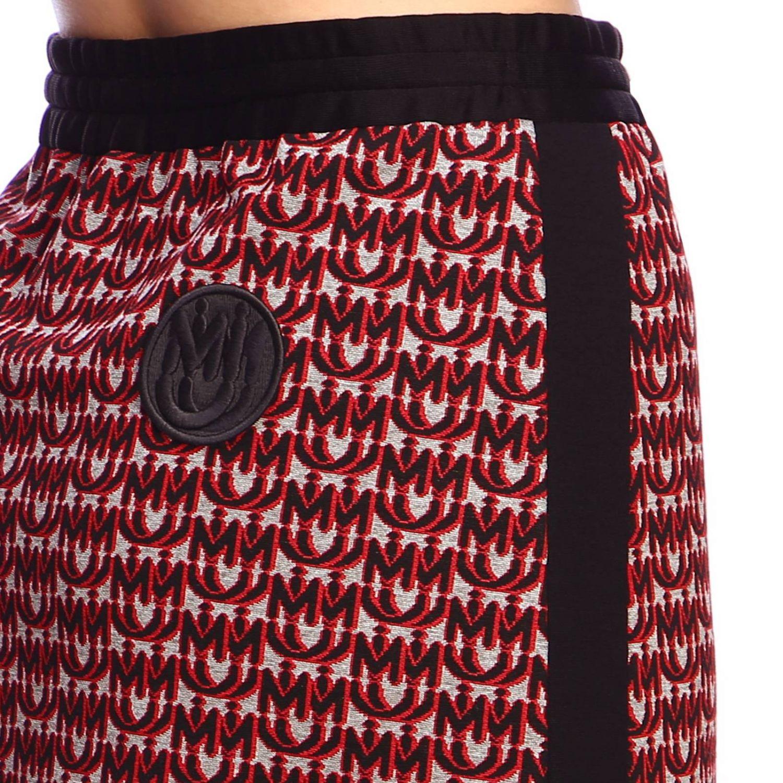 Gonna Miu Miu mini in jersey con logo all over e bande laterali rosso 4
