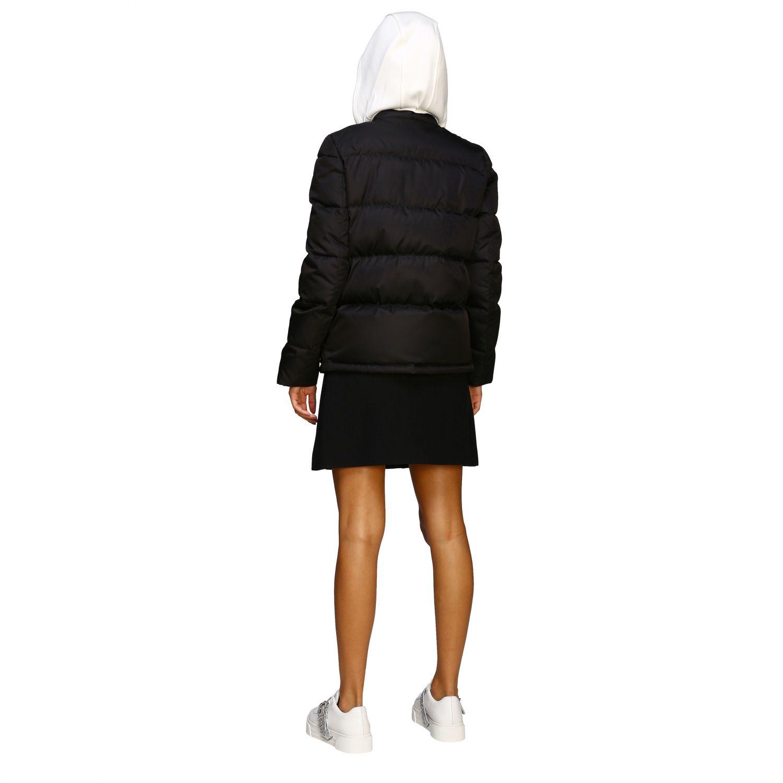 Giacca Miu Miu: Piumino corto logo strass cappuccio bordo pelliccia nero 3