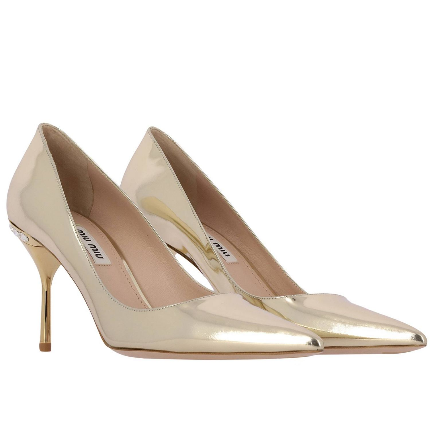 Miu Miu décolleté in mirrored leather with rhinestones gold 2