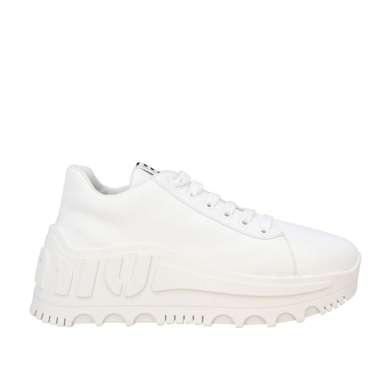 Sneakers maxi suola logata pelle bianco 1
