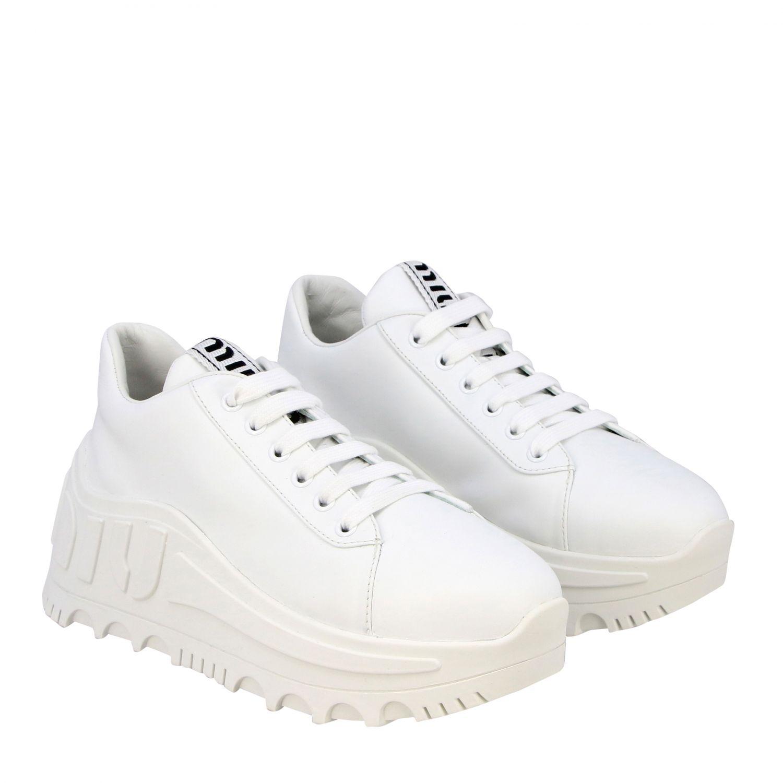 Sneakers maxi suola logata pelle bianco 2