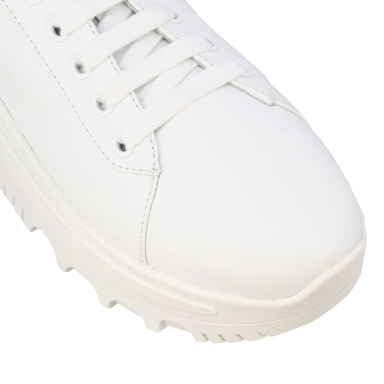 Sneakers maxi suola logata pelle bianco 4