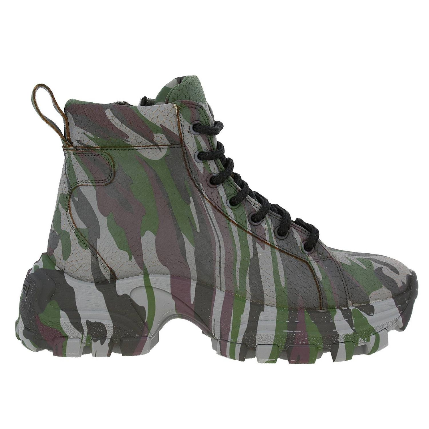 Miu Miu sneakers in camouflage printed leather with combat sole military 1
