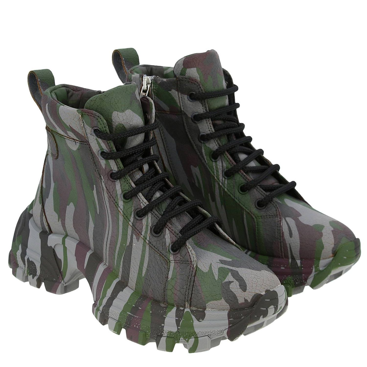 Miu Miu sneakers in camouflage printed leather with combat sole military 2