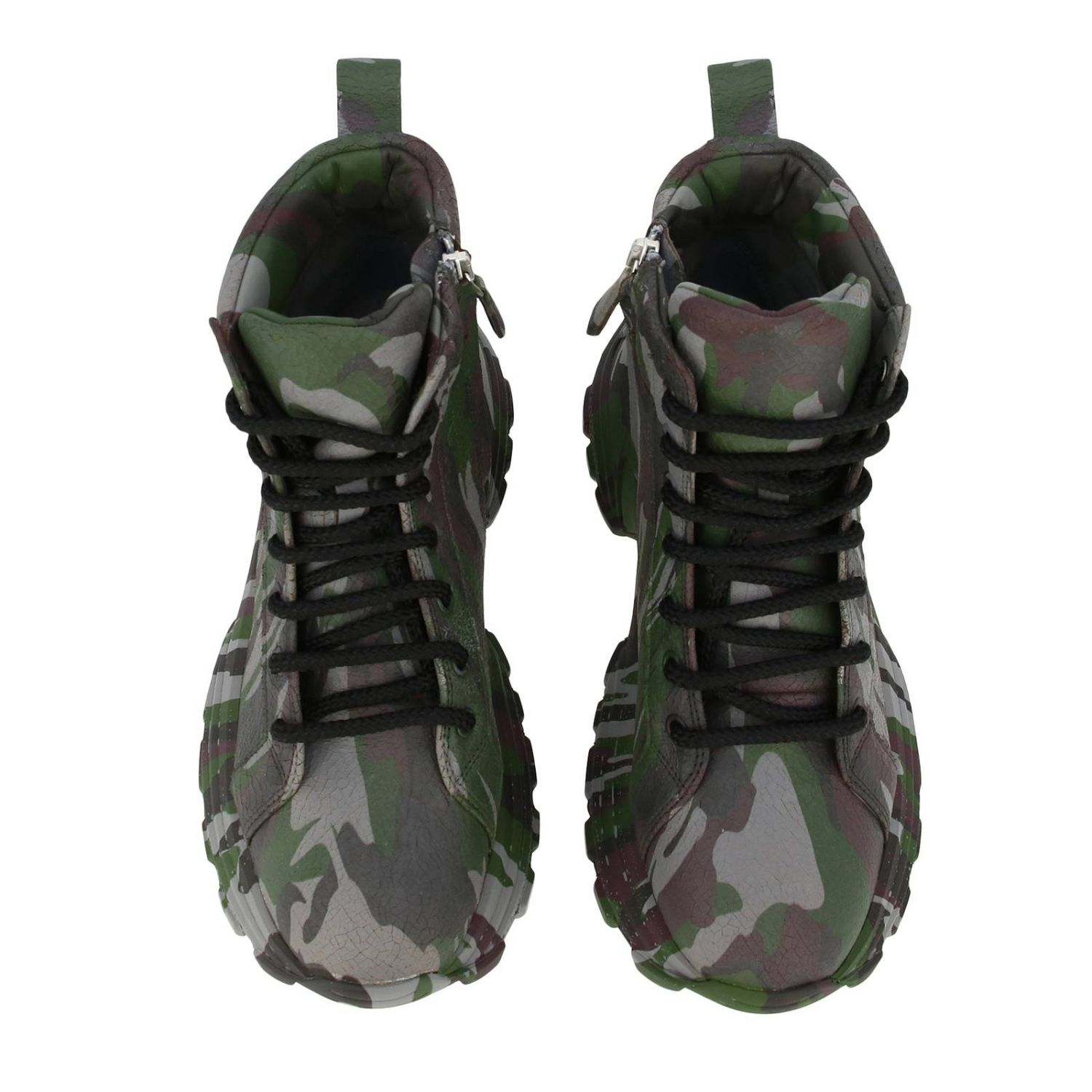 Miu Miu sneakers in camouflage printed leather with combat sole military 3