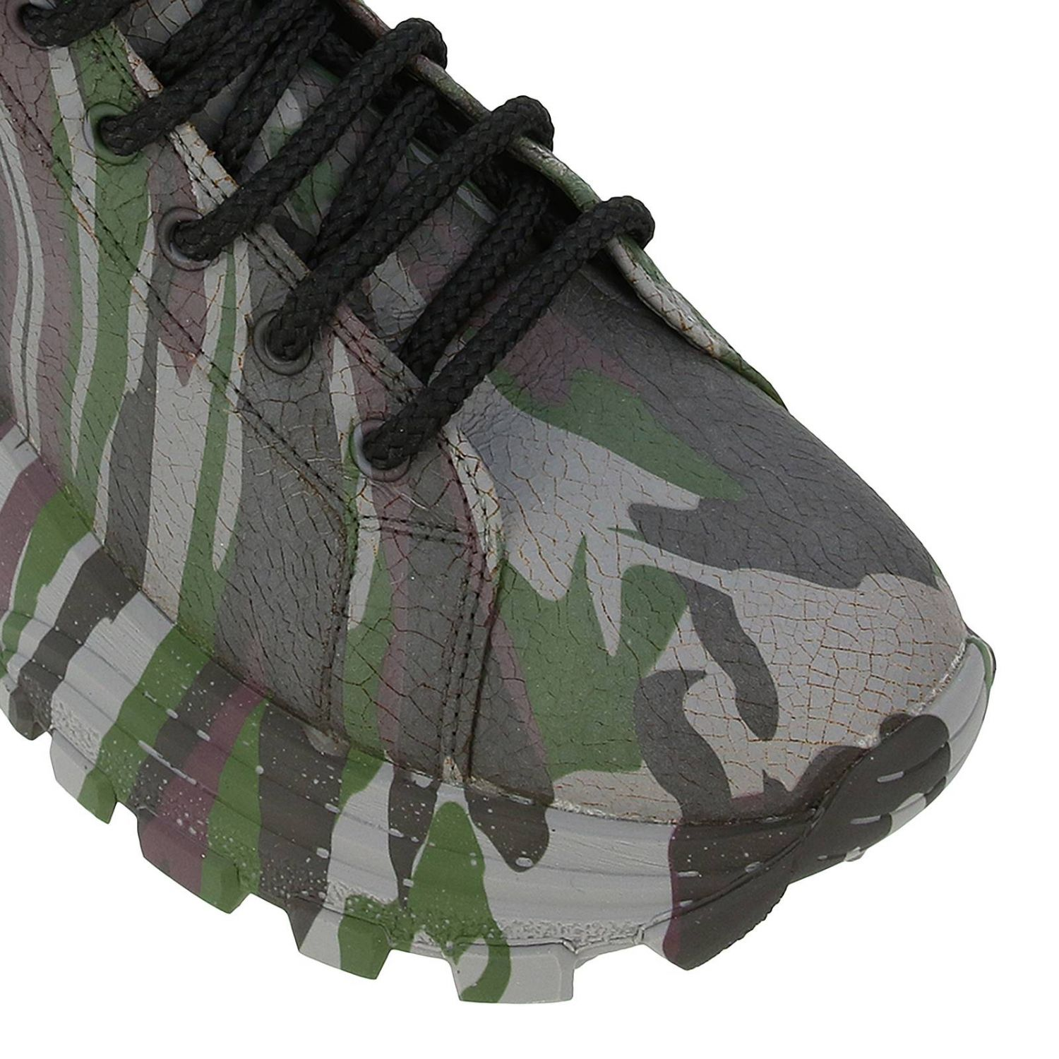Miu Miu sneakers in camouflage printed leather with combat sole military 4