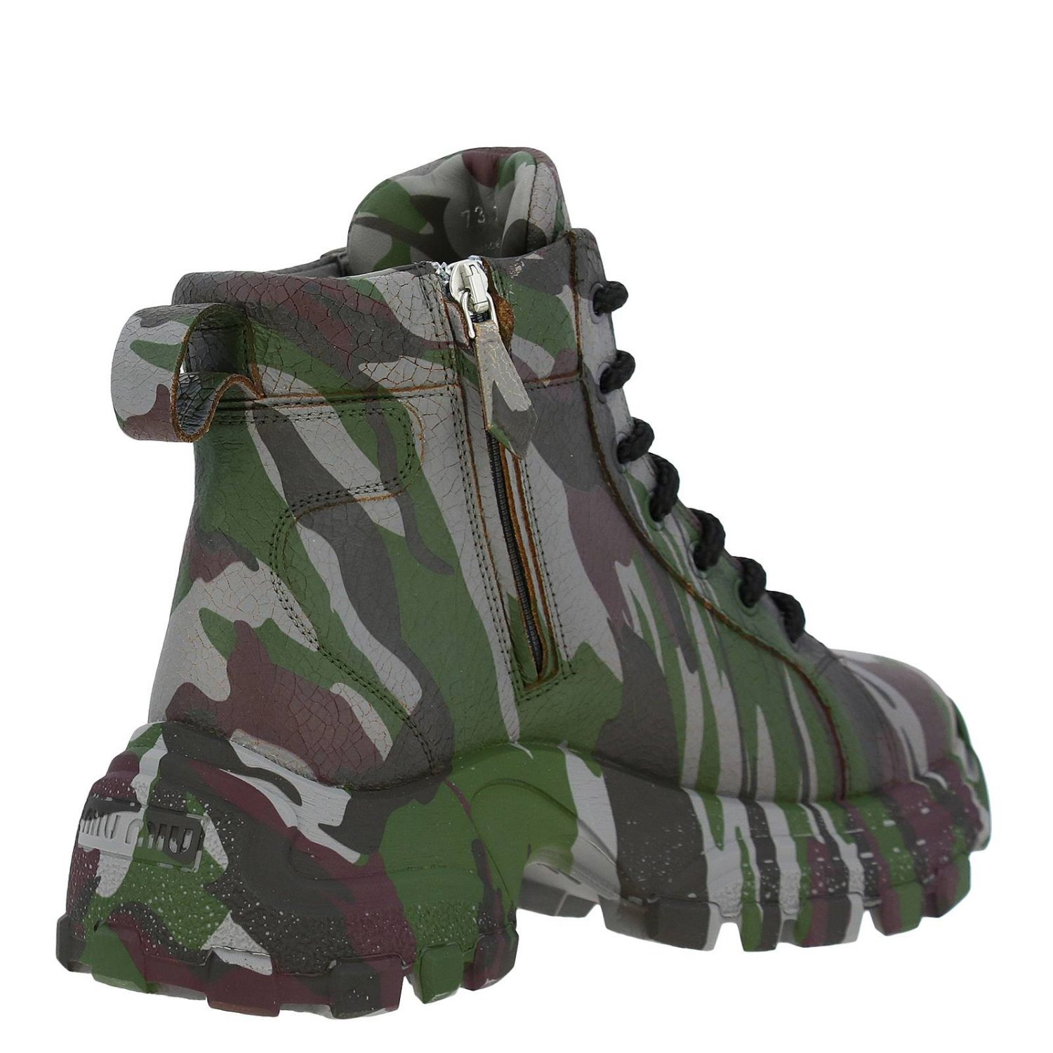 Miu Miu sneakers in camouflage printed leather with combat sole military 5