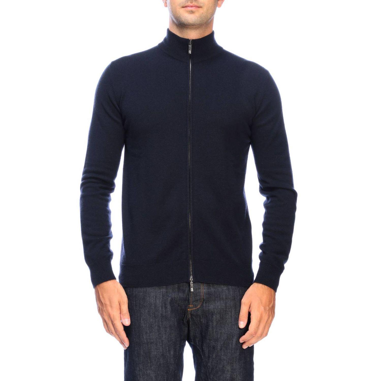 Giorgio Armani basic cashmere cardigan with zip blue 1