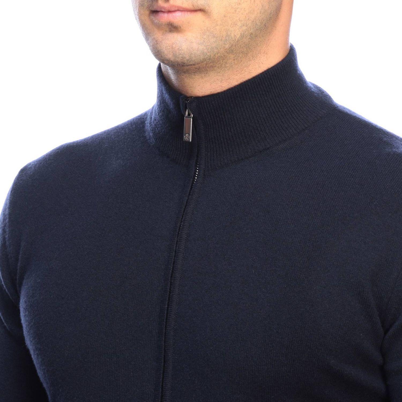 Giorgio Armani basic cashmere cardigan with zip blue 3