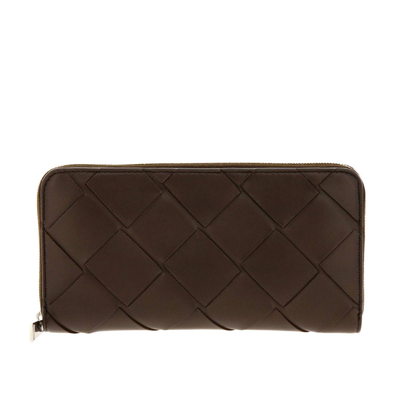 Portafoglio Bottega Veneta continentale zip around in pelle con lavorazione maxi intrecciata marrone 1