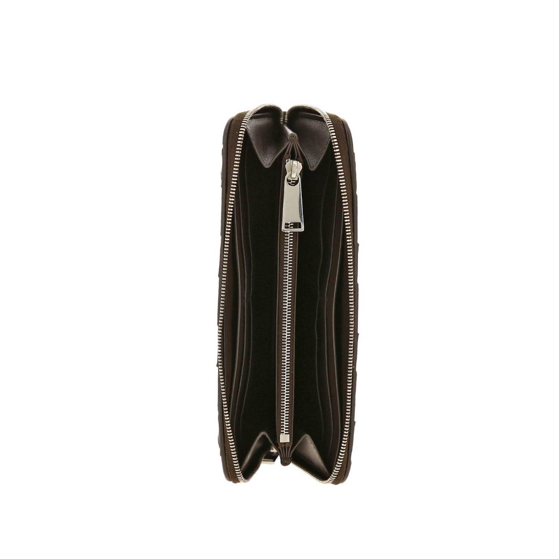 Portafoglio Bottega Veneta continentale zip around in pelle con lavorazione maxi intrecciata marrone 2
