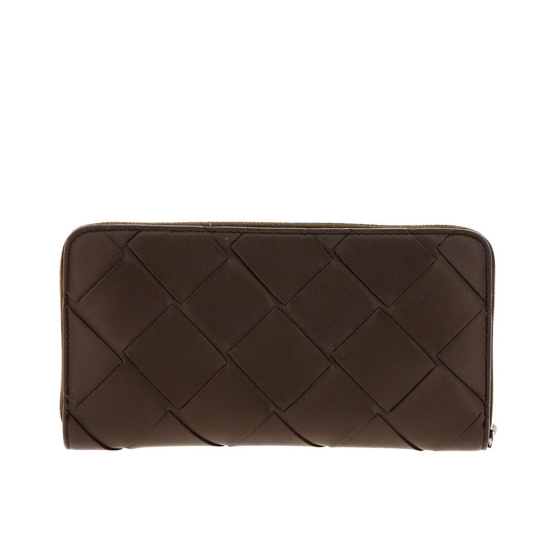 Portafoglio Bottega Veneta continentale zip around in pelle con lavorazione maxi intrecciata marrone 3