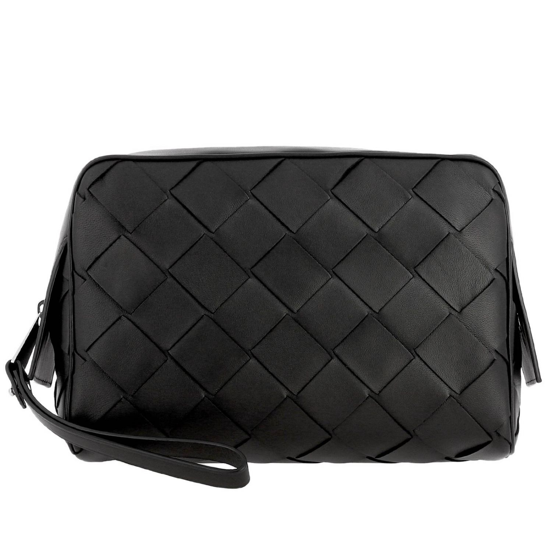 Bottega Veneta Beauty Case in maxi woven leather black 1
