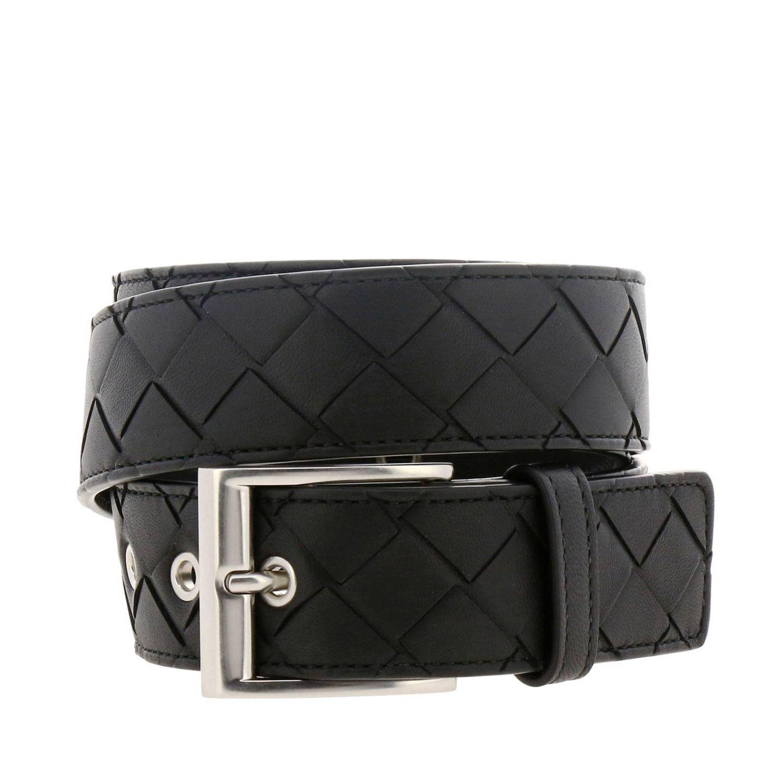 Bottega Veneta Classic Gürtel aus echtem Leder mit Webarbeiten und Metallschnalle schwarz 1