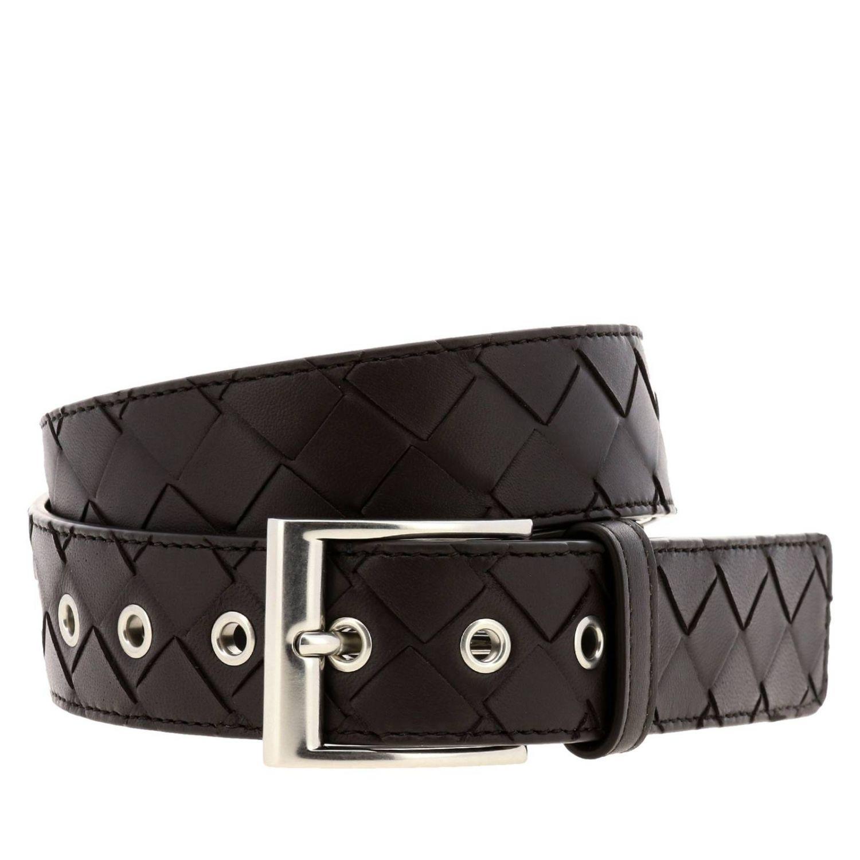 Cintura Bottega Veneta Classic in vera pelle con lavorazione intrecciata e fibbia metallica moro 1