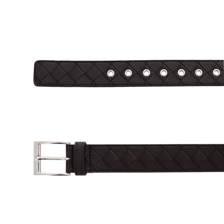 Cintura Bottega Veneta Classic in vera pelle con lavorazione intrecciata e fibbia metallica moro 2
