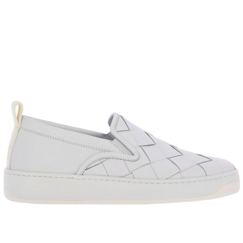 Sneakers Bottega Veneta slip on in vera pelle liscia con maxi lavorazione intrecciata bianco 1