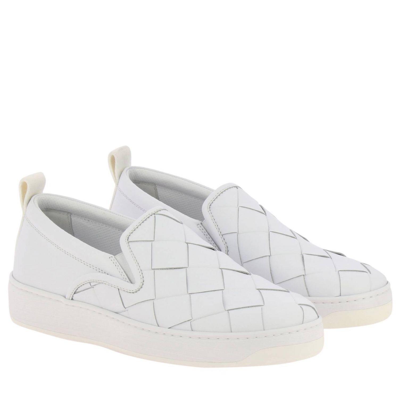 Sneakers Bottega Veneta slip on in vera pelle liscia con maxi lavorazione intrecciata bianco 2