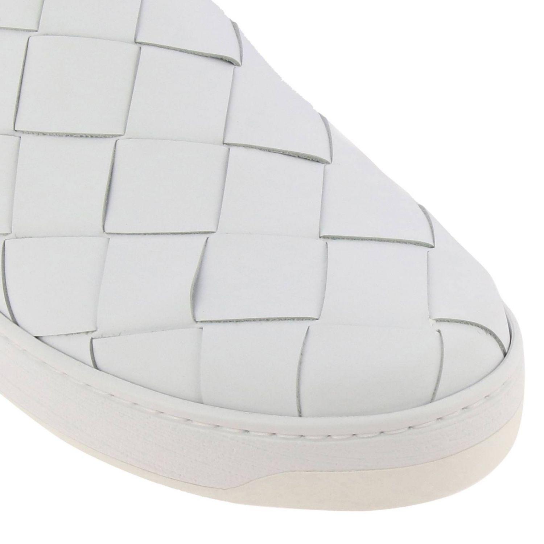 Sneakers Bottega Veneta slip on in vera pelle liscia con maxi lavorazione intrecciata bianco 3