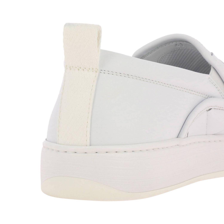 Sneakers Bottega Veneta slip on in vera pelle liscia con maxi lavorazione intrecciata bianco 4