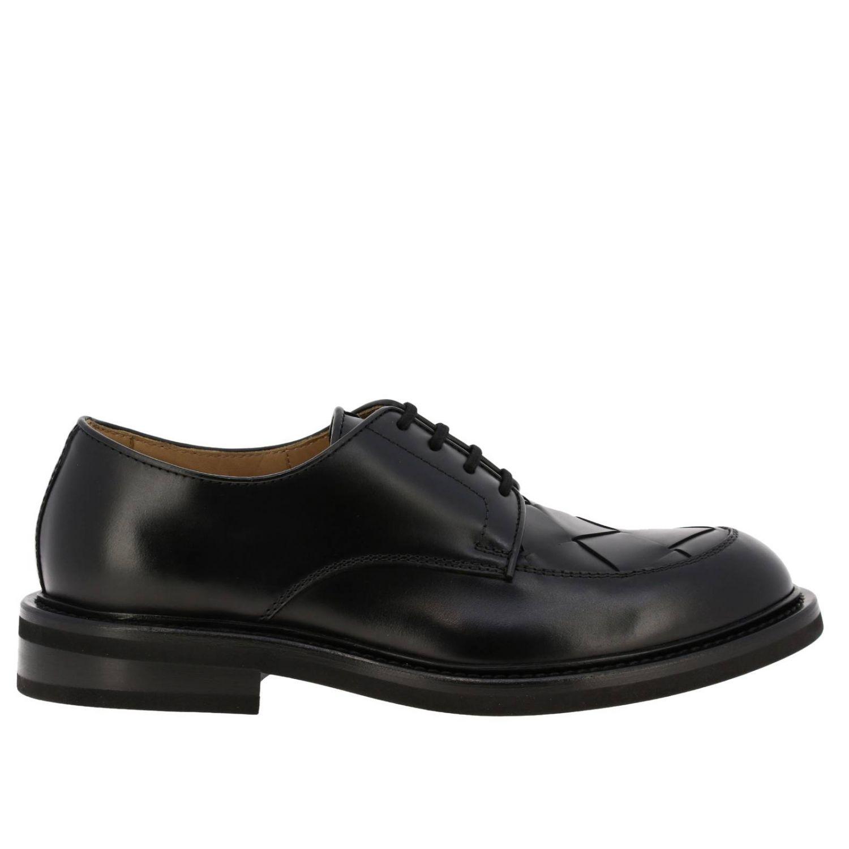 Ботинки дерби Bottega Veneta из натуральной кожи с плетением макси черный 1