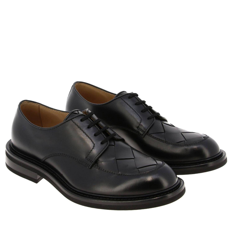 Ботинки дерби Bottega Veneta из натуральной кожи с плетением макси черный 2