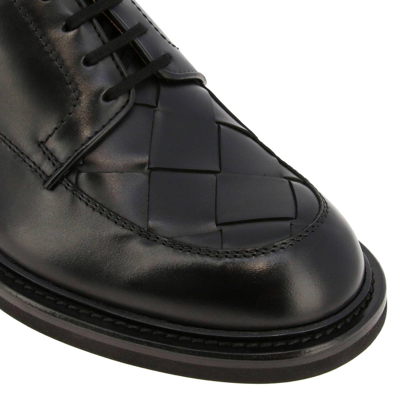 Ботинки дерби Bottega Veneta из натуральной кожи с плетением макси черный 3