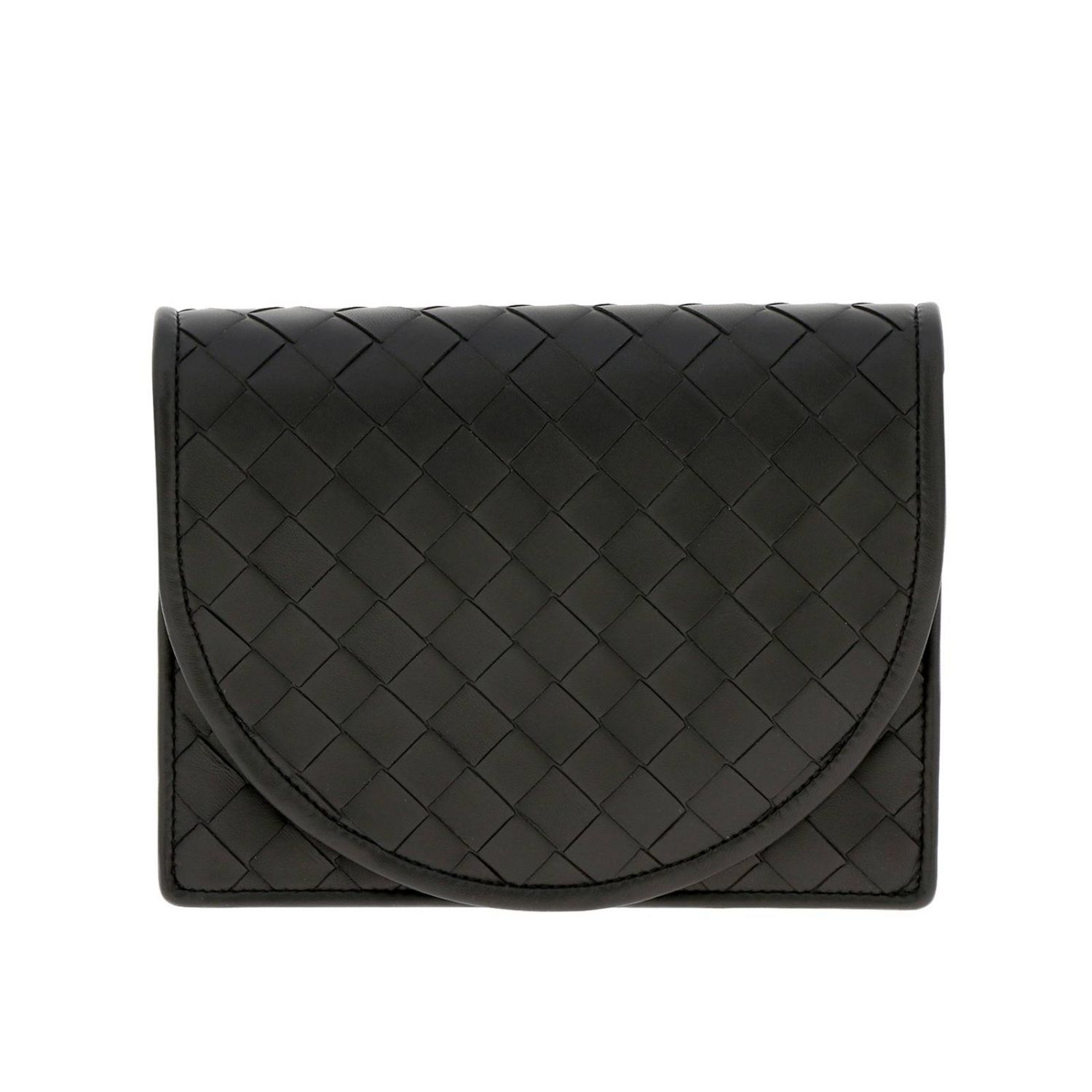 Bottega Veneta shoulder bag in leather with maxi weave black 1