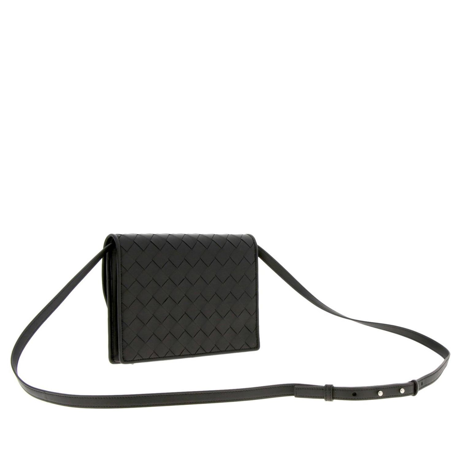 Bottega Veneta shoulder bag in leather with maxi weave black 3