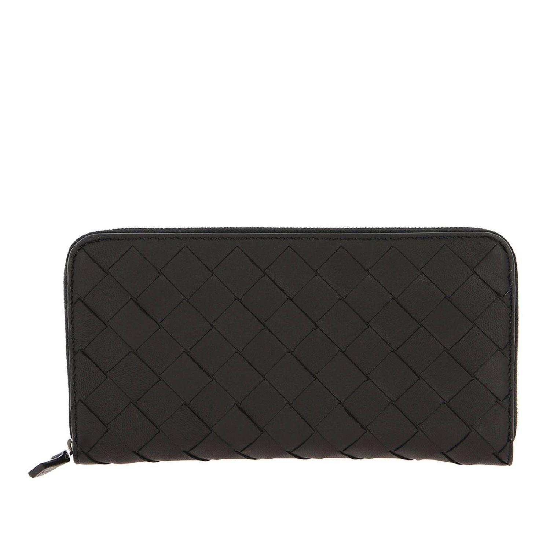 Portafoglio Bottega Veneta continentale zip around in pelle con lavorazione intrecciata nero 1