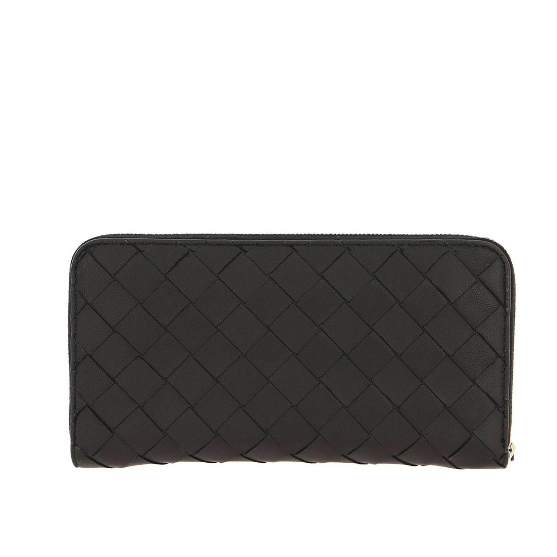Portafoglio Bottega Veneta continentale zip around in pelle con lavorazione intrecciata nero 3