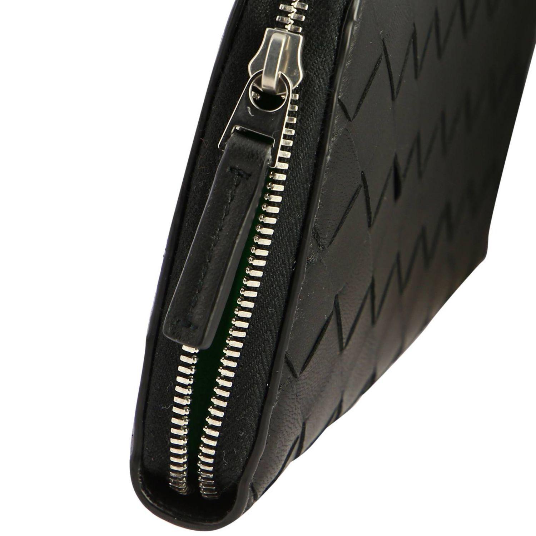 Portafoglio Bottega Veneta continentale zip around in pelle con lavorazione intrecciata nero 4