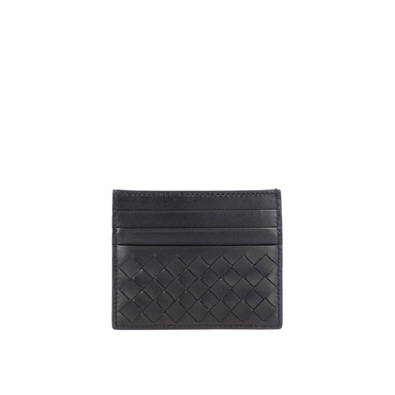 Porta carte di credito Bottega Veneta in pelle intrecciata nero 1