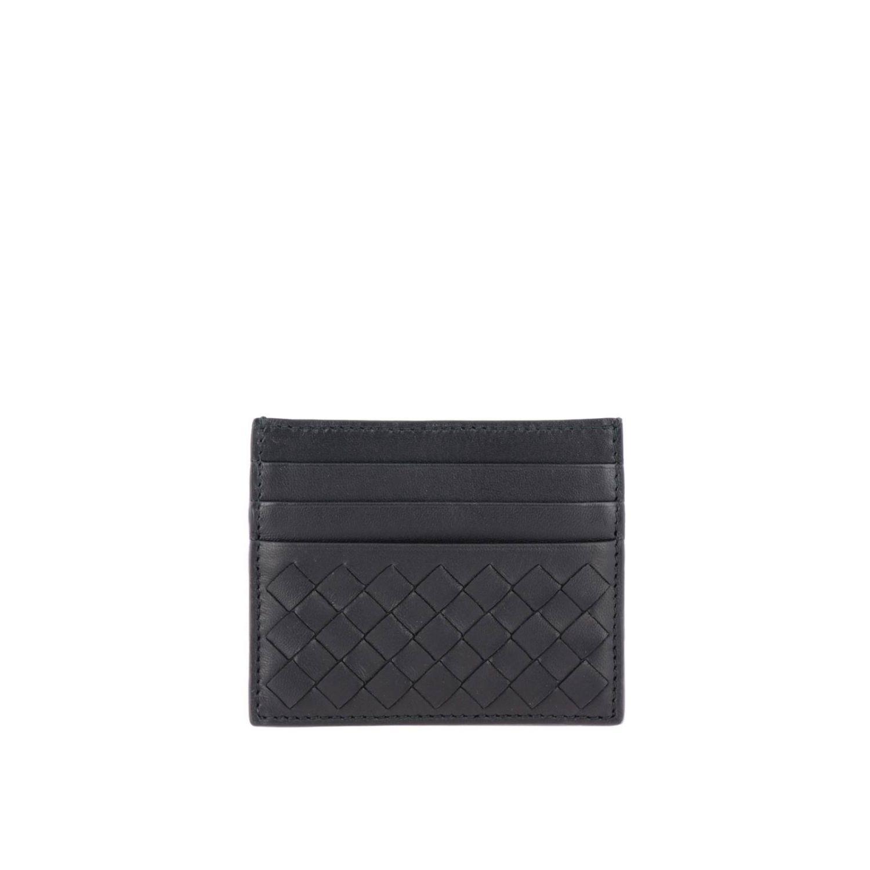 Porta carte di credito Bottega Veneta in pelle intrecciata nero 2