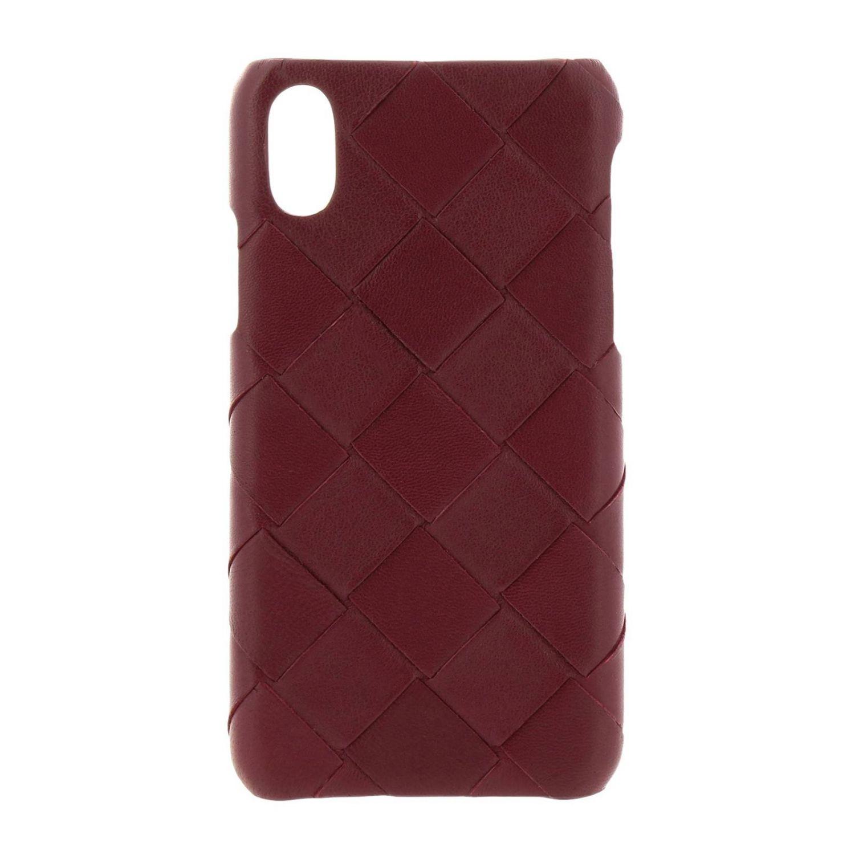 Iphone xs Bottega Veneta Hülle aus gewebtem Leder burgunderrot 1