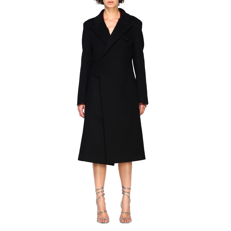 Cappotto Bottega Veneta classico in panno di lana nero 1