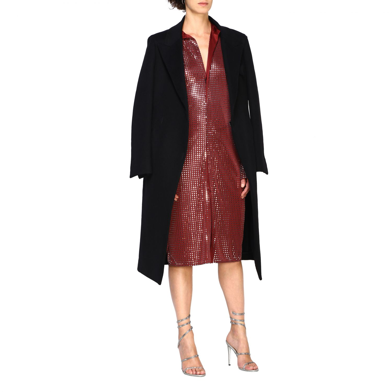 Cappotto Bottega Veneta classico in panno di lana nero 2