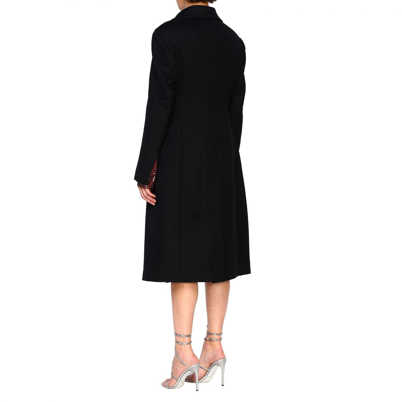 Cappotto Bottega Veneta classico in panno di lana nero 3
