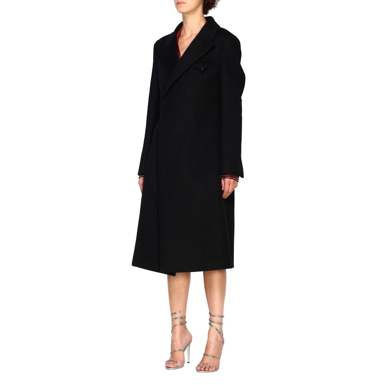 Cappotto Bottega Veneta classico in panno di lana nero 4