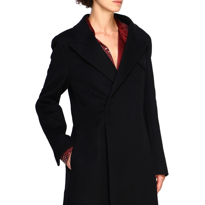 Cappotto Bottega Veneta classico in panno di lana nero 5