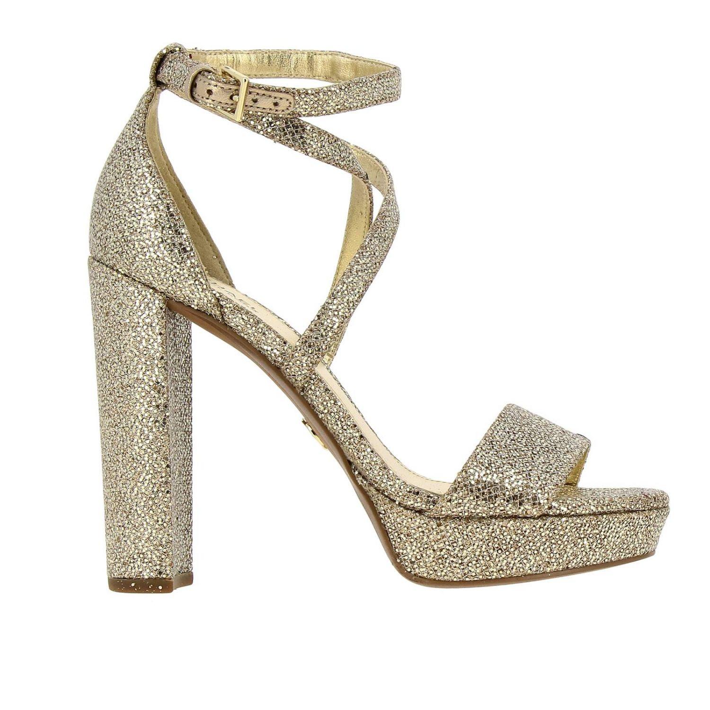 Sandali con tacco Michael Michael Kors: Sandalo Charlize platform Michael Michael Kors in tessuto glitter oro 1