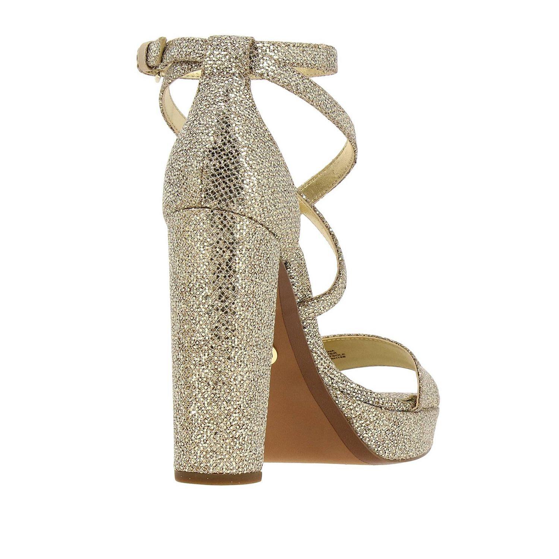 Sandali con tacco Michael Michael Kors: Sandalo Charlize platform Michael Michael Kors in tessuto glitter oro 4