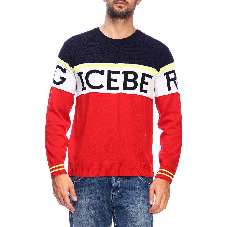 Pullover Iceberg a girocollo in lana con logo jacquard e banda color block rosso 1
