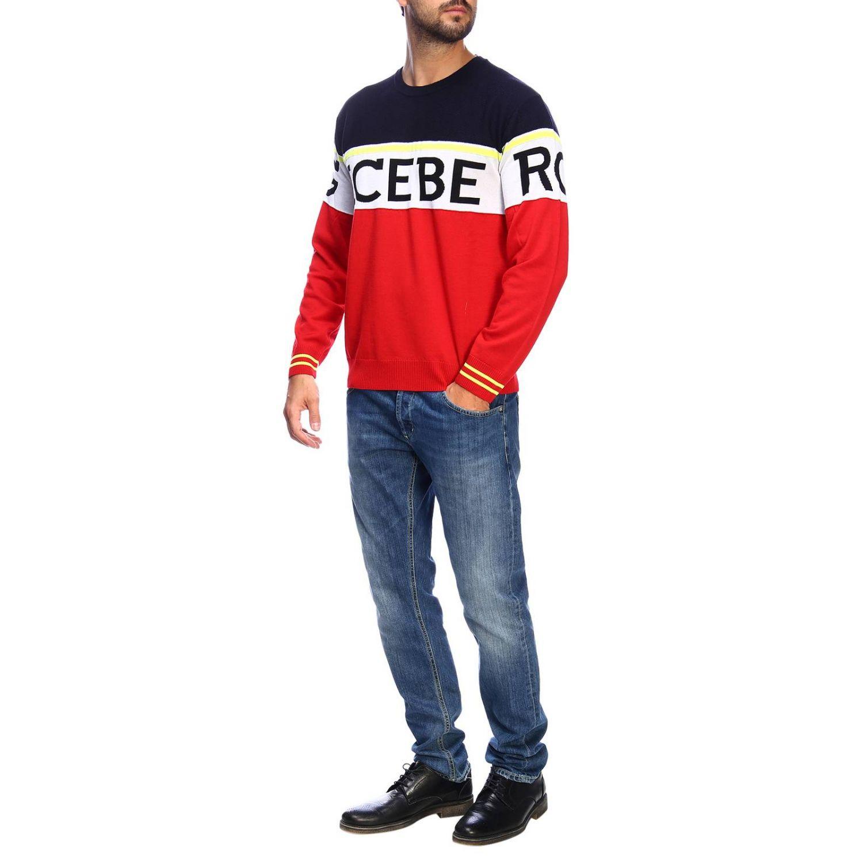 Pullover Iceberg a girocollo in lana con logo jacquard e banda color block rosso 2
